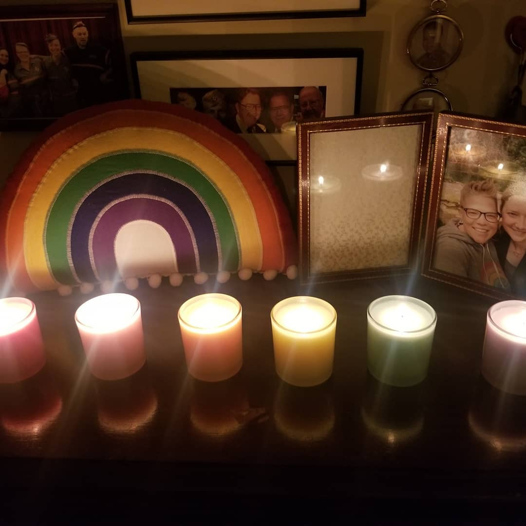 6.28.20 world Pride day in reverse. I woke up with a plan to attend one part of one march: the March for Black Queer & Trans Lives. But then my blood pressure was too high. Defeated, I stayed home and watched poetry talks. I rested and then I lit these candles and remembered that life is bright even in the dark times. #worldpride #queer #queerfamily #blacklivesmatter
