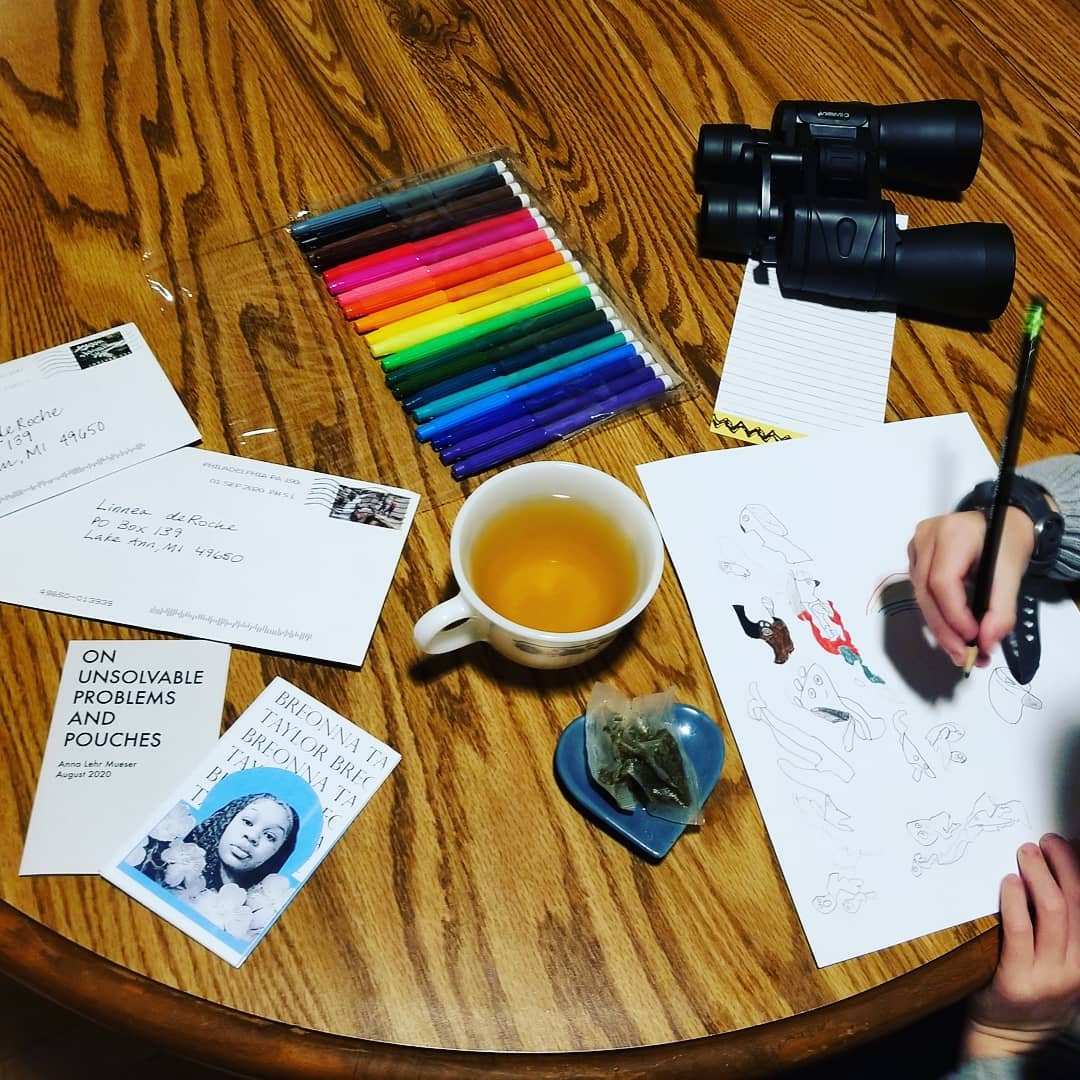 late night tea & sketching & zine gifts from the @phillysoapbox zine exchange ️