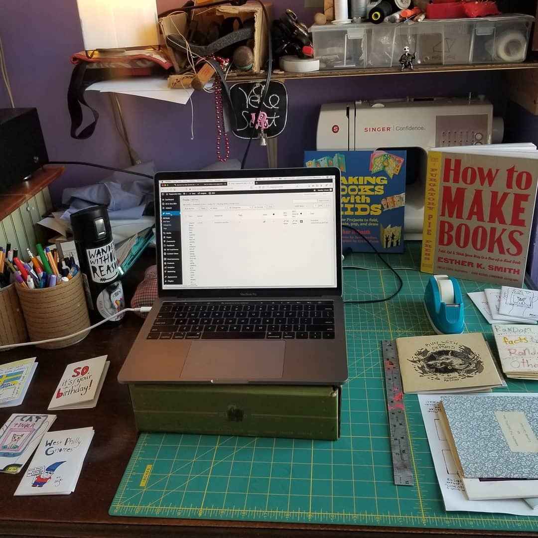 one of many work spaces... getting ready to lead a virtual teen/tween zine making workshop as part of the @phillyzinefest workshops today. Check out the whole line up and join us!